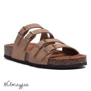 Shoes - New Taupe Vegan Birk Style Sandals